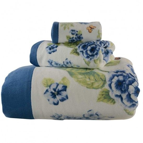 Blue Floral Garden Bath Towel Collection