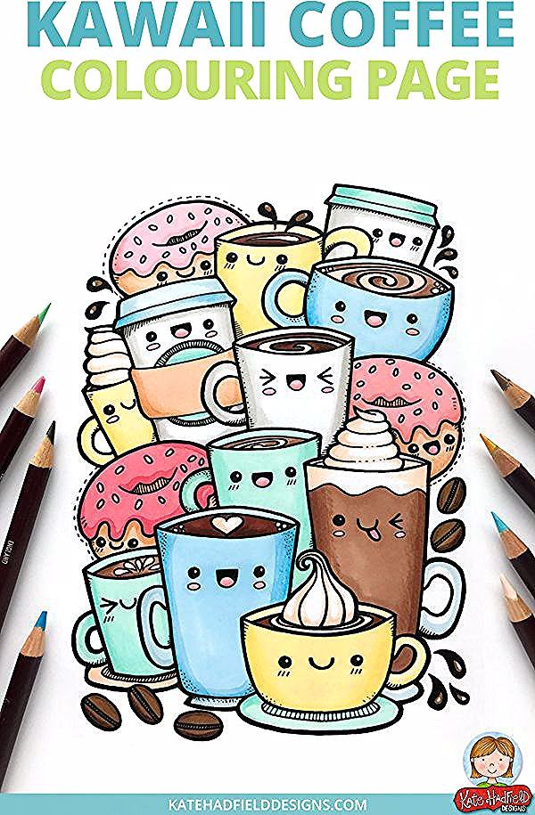 Kawaii Coffee Free Colouring Page In 2020 Doodle Art Drawing Cute Doodle Art Doodle Art
