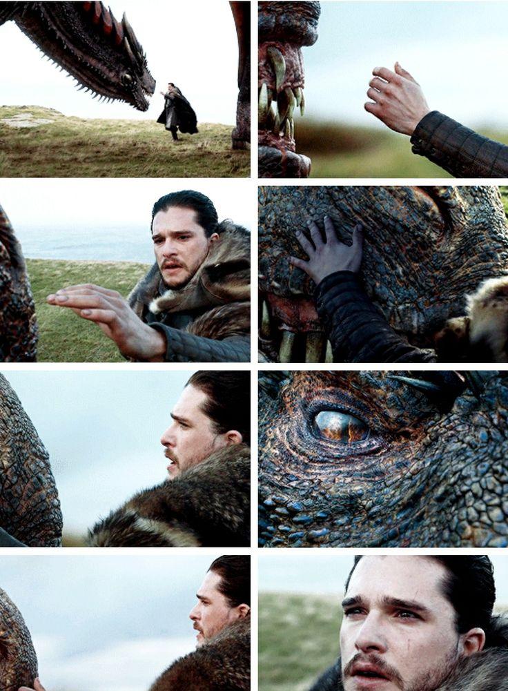 Drogon accepting Jon Snow, game of thrones season 7 episode 5, Jon Targaryen, Daenerys Targaryen, Kit Harington, Emilia Clarke