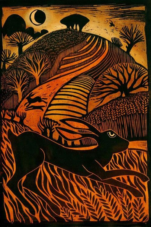 """""""Leaping Hare"""" by Ian MacCulloch (woodcut) Just love the fields and the colours"""