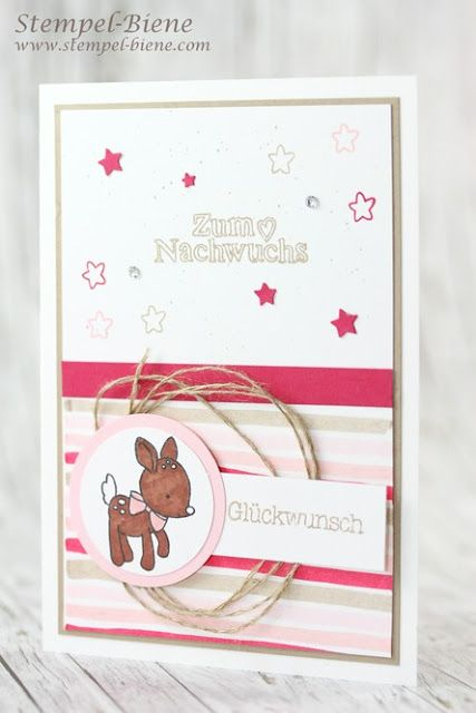 selbermachen Designer Series paper;  make manual Desingerpapier;  Baby cards for birth;  Baby girl card tinker;  Baby Workshop Stampin 'Up !, Match the Sketch;  Stamp Bee;  For young Stampin up