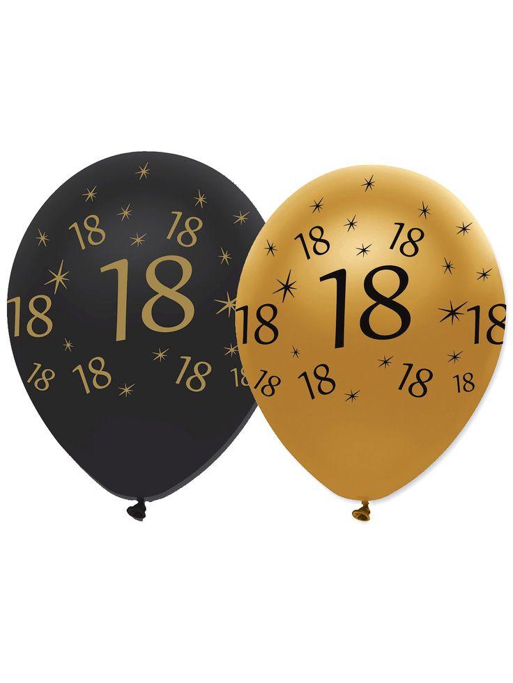 6 Globos negros y dorados látex 18 años: Este lote incluye 6 globos de látex.Miden hasta 30 cm de diámetro hinchados.Hay 3 globos negros y 3 dorados con el número 18.Estos globos originales son el toque final de la...