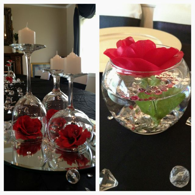 Rose wine glass centerpieces at the castle wedding for Glass tables for wedding reception