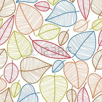 hojas de otoño dibujo: Hojas de otoño sin patrón, vector de fondo de temporada. Vectores