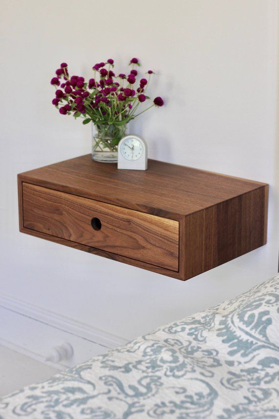 Ikea Malm Zwevend Nachtkastje.Floating Nightstand With Drawer Mid Century Modern Bedside Table