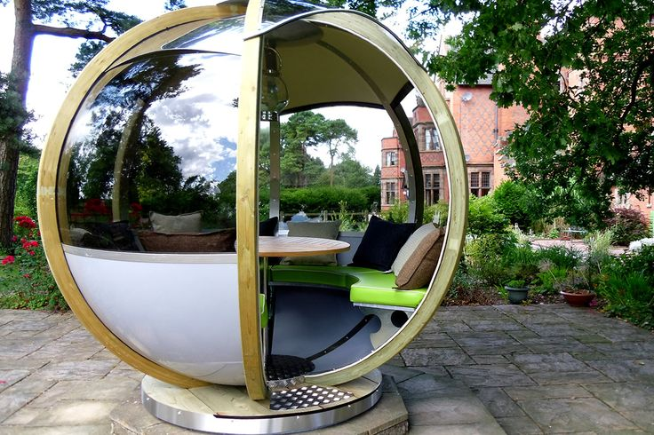 With the ability to rotate 360° your pod can be positioned into the sun, shade or out of the wind. Using six timber arcs and wide tinted windows this sleek design offers a full panoramic view. The entrance to the pod is set at 60° providing a comfortable seating area for seven guests. http://ornategarden.com/