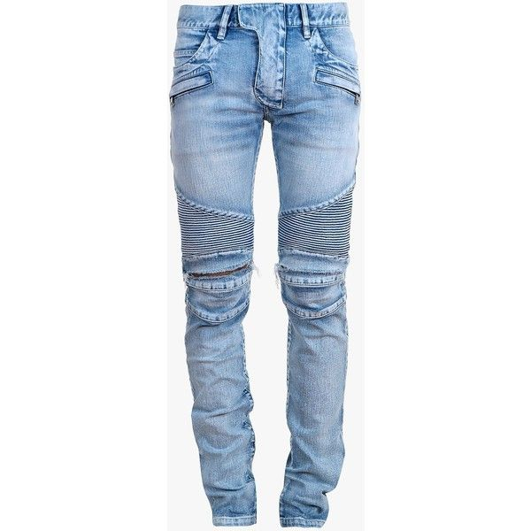 Balmain Slim fit washed denim biker jeans ($1,065) ❤ liked on Polyvore featuring men's fashion, men's clothing, men's jeans, men, pants, mens ripped jeans, mens torn jeans, mens slim cut jeans, mens jeans and balmain men's jeans