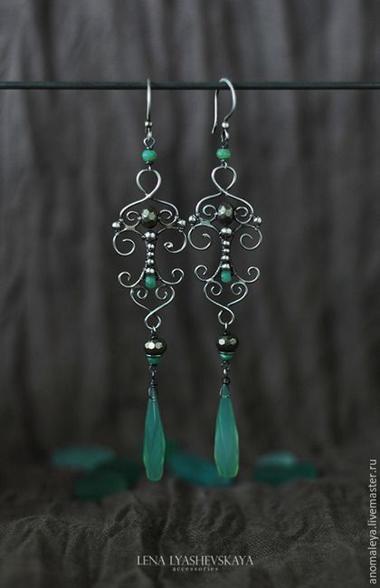 Earrings 'Outside the Gate' in oxidized sterling silver, pyrite, chalcedony and chrysoprase; by Lena Lyashevsky.