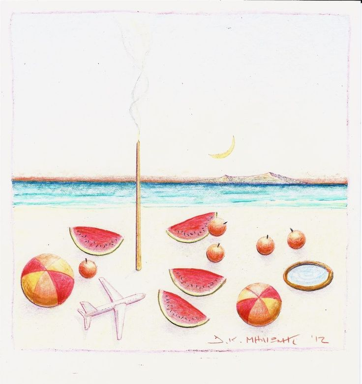Milionis - Original Signed Colored Drawing BEACH & Symbols on paper 2012 #Modernism