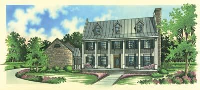 Plantation Style House Plans - 2888 Square Foot Home , 2 Story, 4 Bedroom and 3 Bath, 3 Garage Stalls by Monster House Plans - Plan 30-281