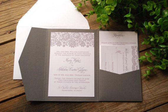 Lace Wedding Invitation  Grey and White by birdhousestationery, $6.00