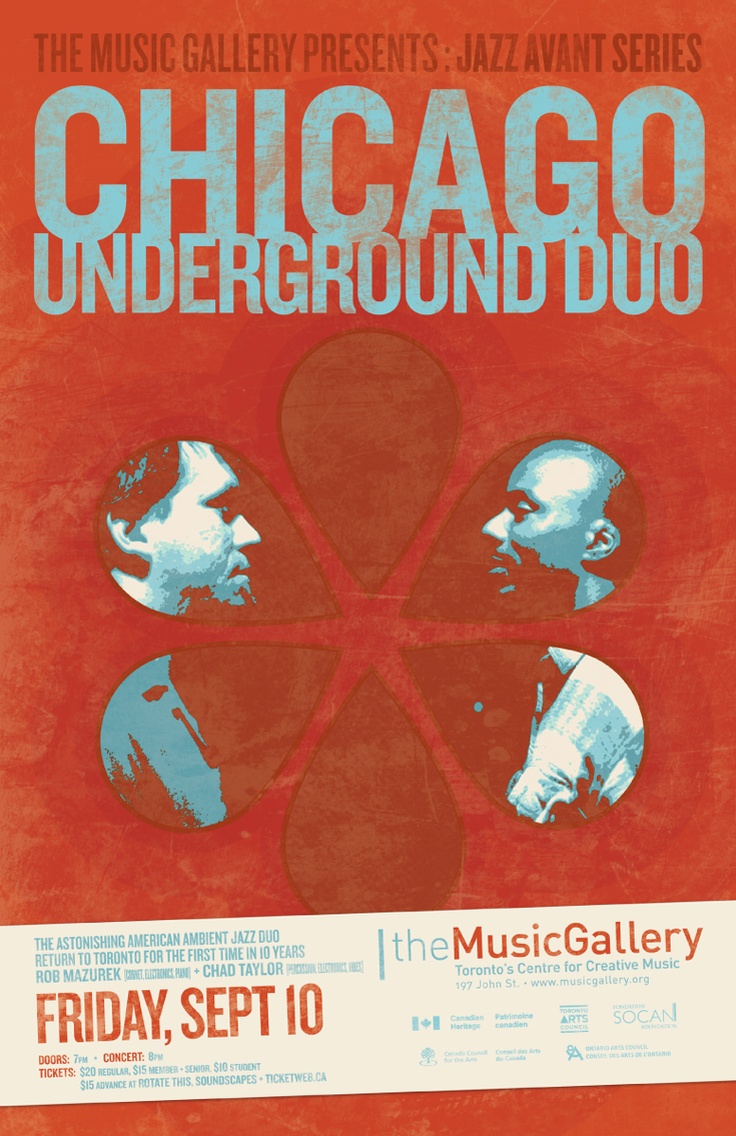Chicago Underground Duo  •  Music Gallery poster  •  designed by jjparé  •  jjpare.tumblr.com