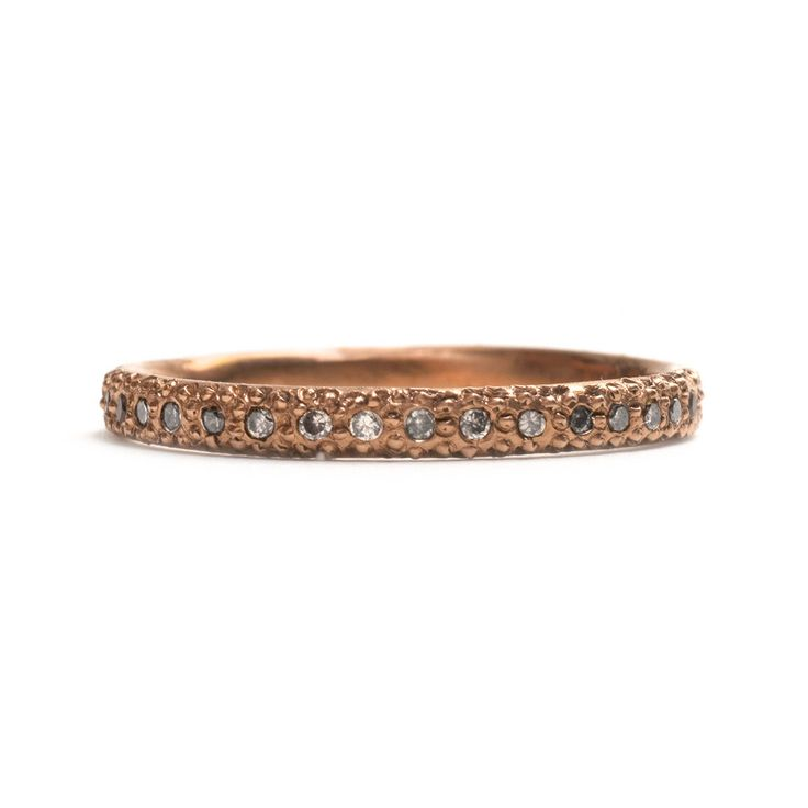 ETERNAL LOVE DIAMOND ETERNITY RING by SUZI ZUTIC || 18ct rose gold and round brilliant cut champagne diamonds, bead-set around entire band, with hand engraving Matte finish, square profile