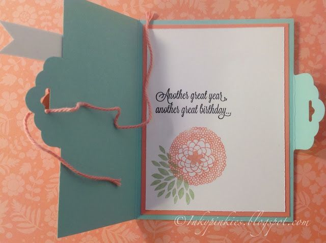 InkyPinkies: Spiral Flower on Tag Topper Side Fold Card