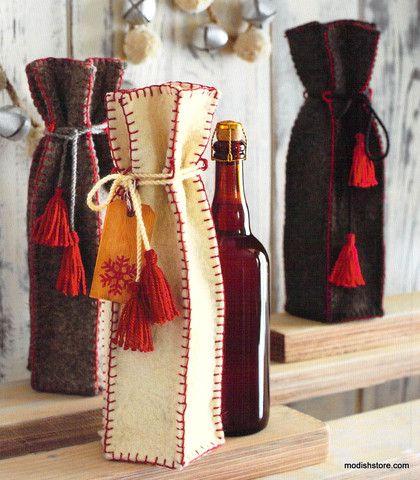 bolsas para botellas de fieltro