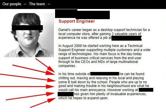 The site that allowed this guy to write his own job description. | 20 Hilariously Terrible Corporate Websites