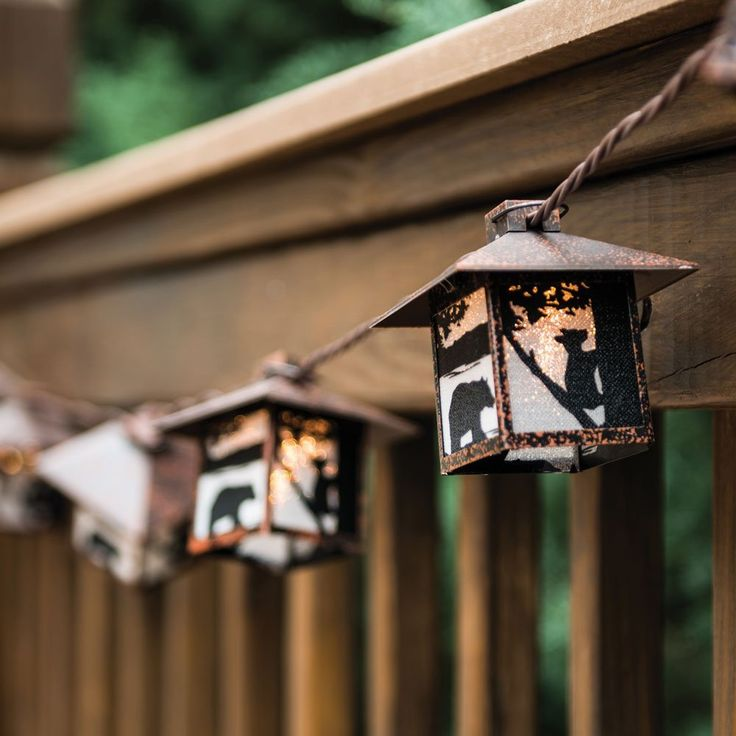 Amazon.com: Black Bear Rustic Lantern String Lights - Cabin Outdoor Decor: Home & Kitchen