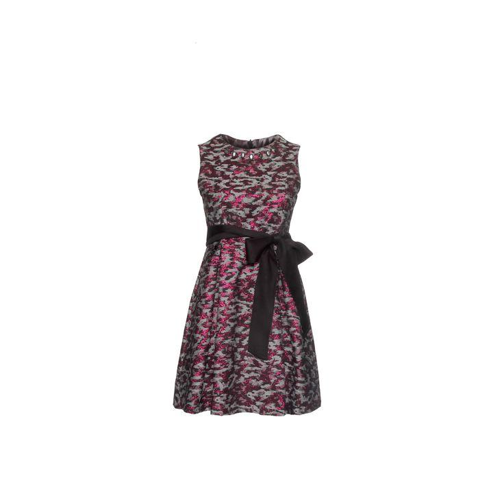 Naughty Dog #FW1415 jacquard #dress, lurex effect with gros grain belt on the waist.