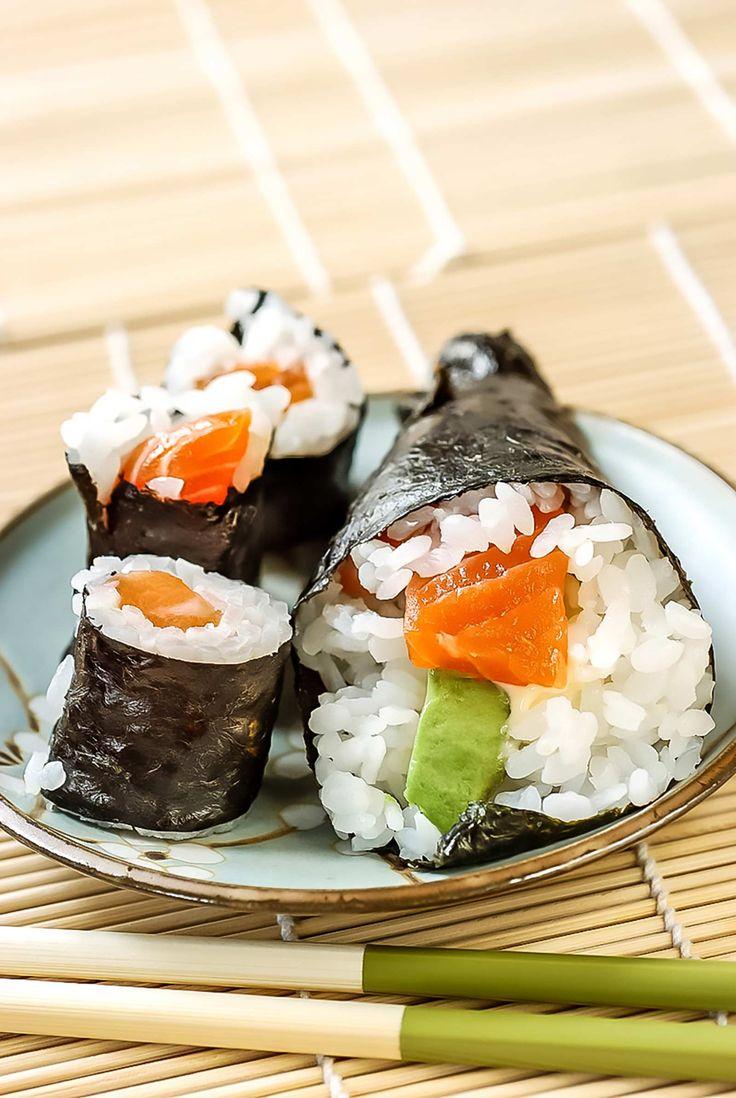 Japanse rijst maki  met zalm