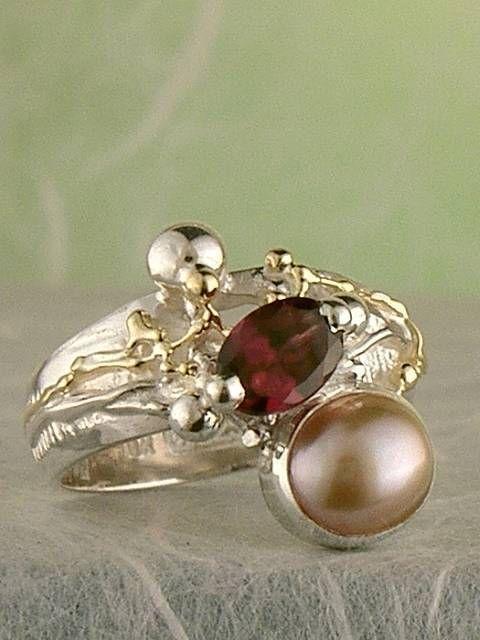 Gregory Pyra Piro #Konst #Smycken Sterlingsilver och Guld med Ädelstenar #Ring Nr. 2985