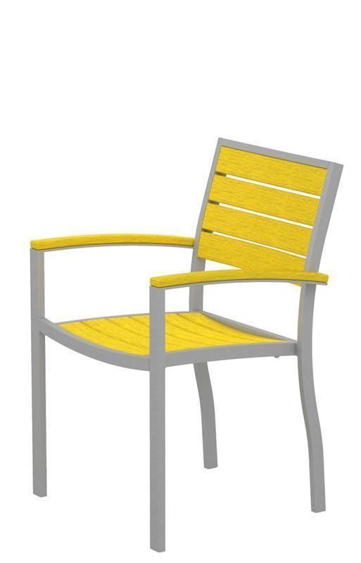 Polywood A200FASLE Euro Dining Arm Chair in Textured Silver Aluminum Frame / Lemon #ArmChair