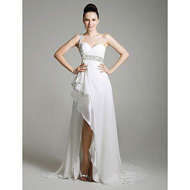 Chiffon Column One Shoulder Sweep Train Evening Dress inspired by Sandrine Bonnaire at Venice Film Festival  – USD $ 179.99