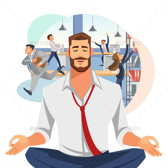 Businessman Meditating In Office Cartoon Vector Office Cartoon Cartoons Vector Cartoon