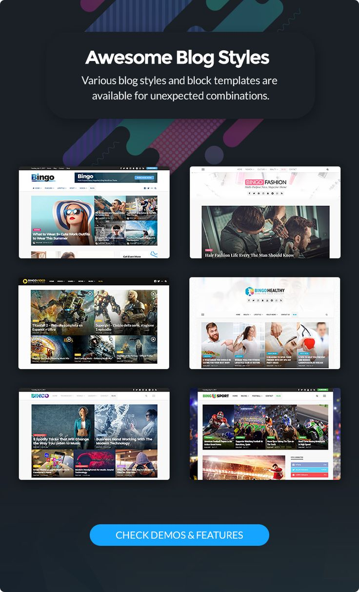 Bingo is a Multi-Purpose Newspaper, Magazine WordPress Theme best suited for sites that deliver news about     Technology, Fashion, Sport, Video, Healthy, Travel, etc.                              ...