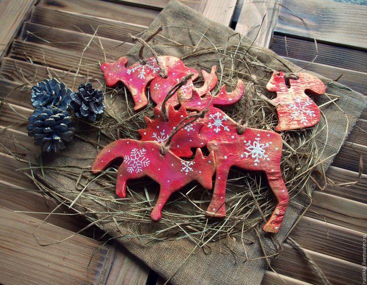 """Купить Елочные украшения """"Зверята"""" - ярко-красный, елочные игрушки, подарок на новый год, подарок ребенку"""