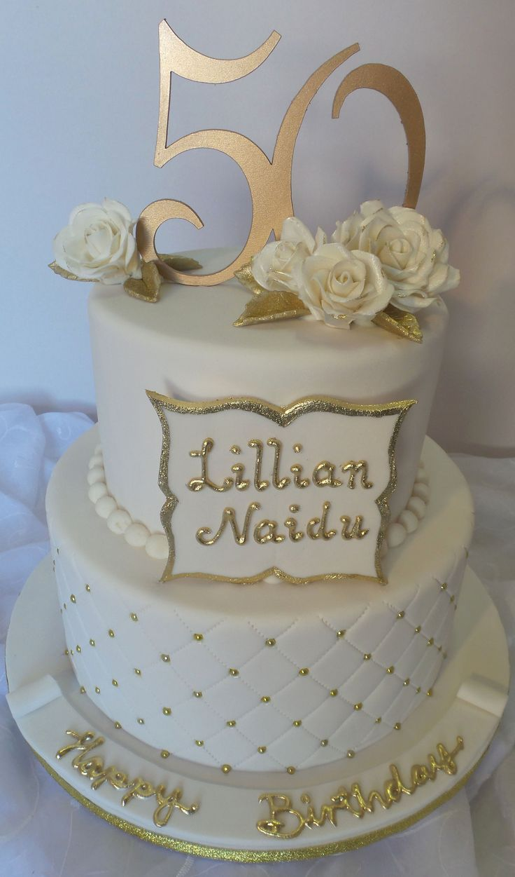 Elegant White Gold 50th Two Tier Birthday Cake