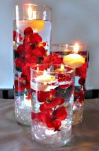 Round Disc Floating Candles in Glass Cylinders with Glass Gens & Red Poppies