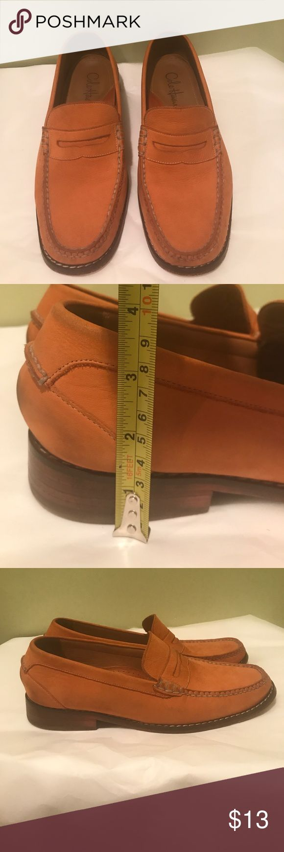 Cole Haan Men's Orange Penny Loafer. US Size 10M. Cole Haan Nike Air Men's US Size 10M orange penny loafer. Soft leather. Some wear on heel and inside ball, shown in pictures. Heel and shoe height shown in pictures. Price is firm. Cole Haan Shoes Loafers & Slip-Ons