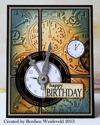 "Distressed Masculine ""Happy Birthday"" Card - use with Time embossing folder"