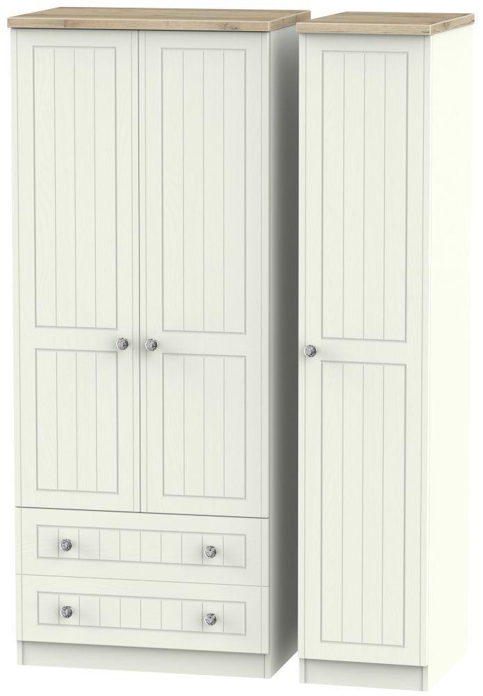Rome 3 Door 2 Left Drawer Wardrobe Bordeaux Oak And Cream Ash Mirrored Wardrobe Doors Triple Wardrobe Pine Wardrobe