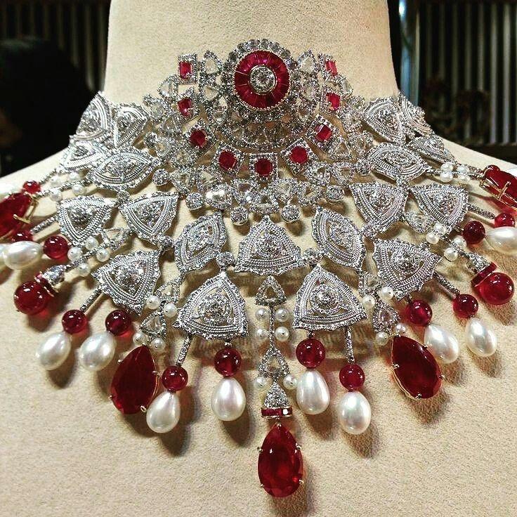@thejewellcloset -  Stunning Diamond & Ruby Necklace  by Bina Goenka.