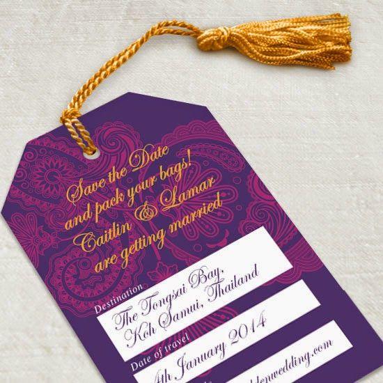 No hassle tassel - a quick and easy way to decorate save the dates #wedding #diy #weddingdiy #weddingstationery #savethedate #luggagetag #destinationwedding #diyproject #tassel