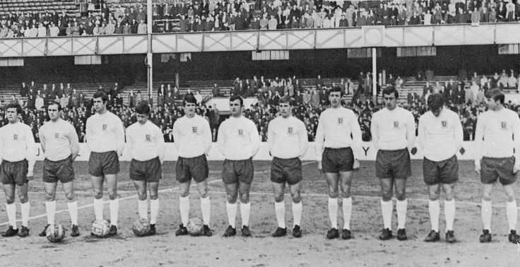 1st May 1968. England Under 23 side that beat Hungary 4-0 at Goodison Park. [LtoR] John Hollins, Peter Springett, Peter Osgood, Tommy Wright, Mike Doyle, Glyn Pardoe, Colin Todd, Alan Stephenson, Martin Chivers, Rodney Marsh and Colin Bell.