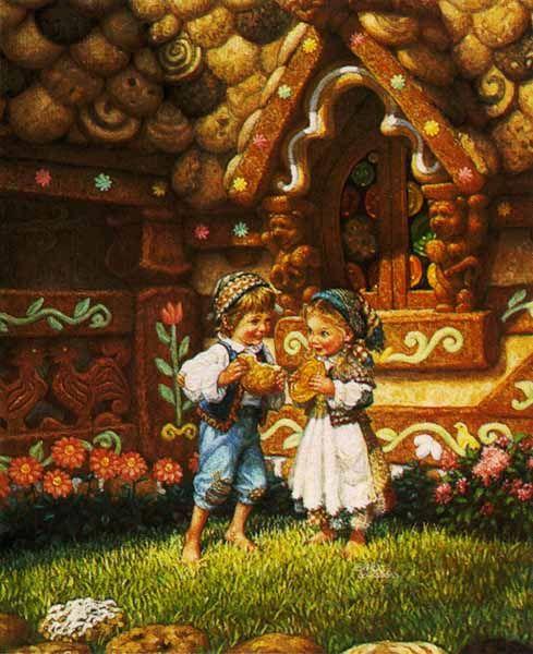Hansel et Gretel devant la maison de la sorcière