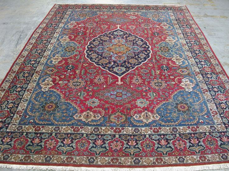 9x14 Antique Persian Oriental Tabriz Hand Knotted Wool Red Blue Area Rug  Carpet