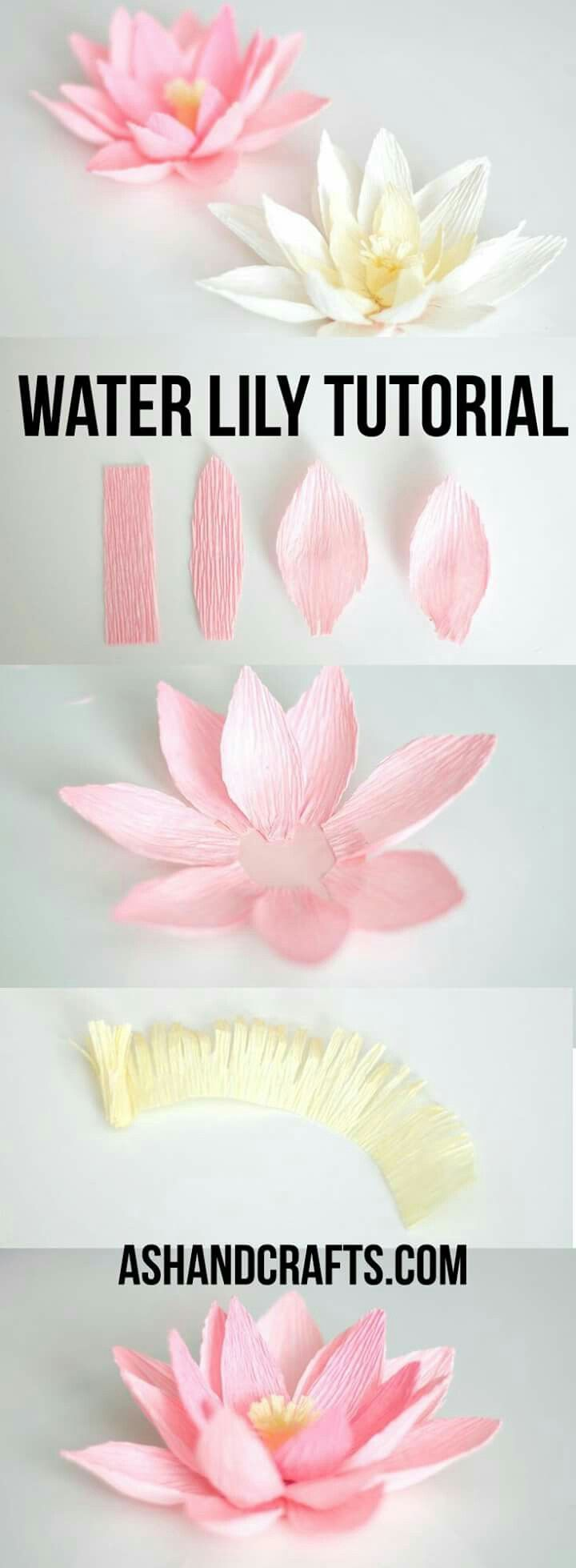 crepe paper water lily paper flower tutorial