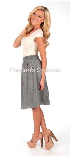 Chiffon Light Blue Polka Dot Skirt | Mikarose Spring 2014 Collection | Trendy Modest Dresses and Clothes