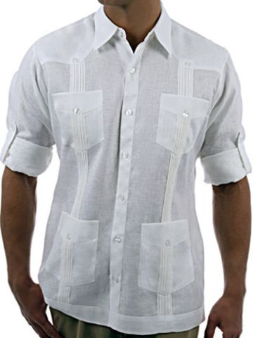 The David is available in linen and makes for a great summer casual dress shirt.  Inspired by the Cuban guayabera shirt.  It functions as a light jacket for the gentleman who wants a formal yet casual look.  Pair with jeans or khaki pants.  Great as a beach wedding shirt as well. Please allow 7-10 days for production and shipping.   •Pleat detail on front and three rows of pleats in back. •Four pockets. •Long sleeves that roll up above the elbow. •Traditional collar.  •Sides open with…