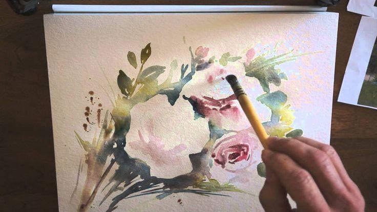 Réalisation d'une aquarelle de roses en technique rapide. Temps réel : environ 30 minutes.