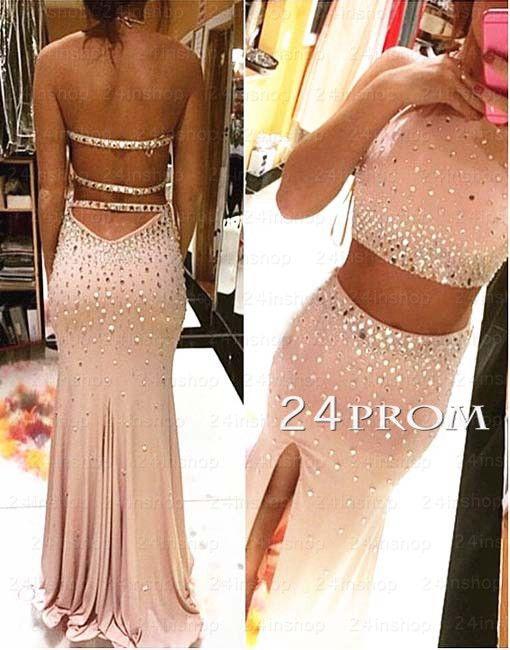Custom Made 2 Pieces Rhinestone Prom Dress Evening Dresses 24prom