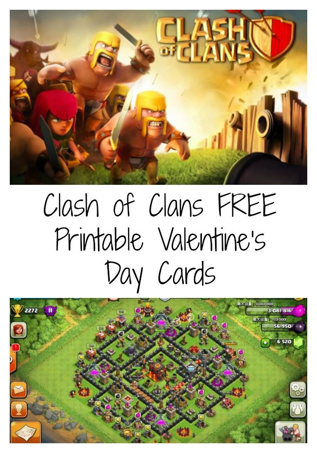 FREE Printable Clash Of Clans Valentines Day Cards ClansBoom BeachValentine