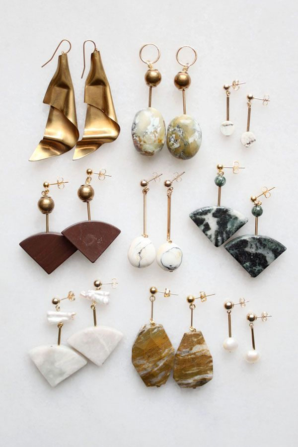 Semi-precious earrings with marble, pearl and feldspar