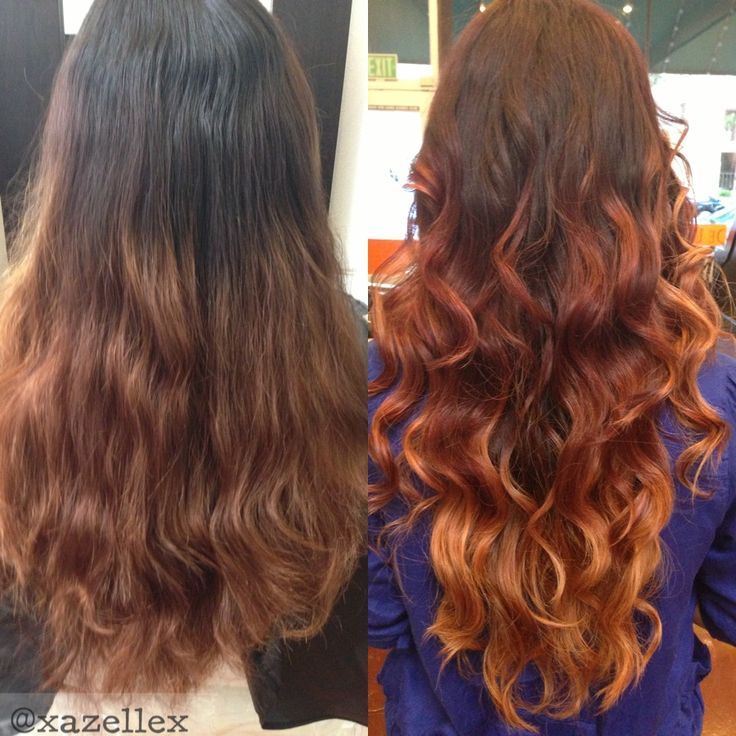 Brown hair with amber ombré