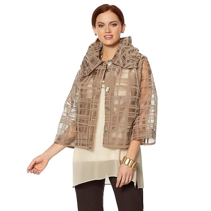 MarlaWynne Wynne Layers Ruched Collar Burnout Topper with Pockets - Light Mushroom