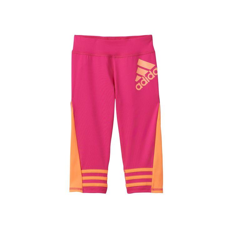 Girls 4-6x Adidas climalite Colorblocked Capri Leggings, Girl's, Size: 6, Med Pink