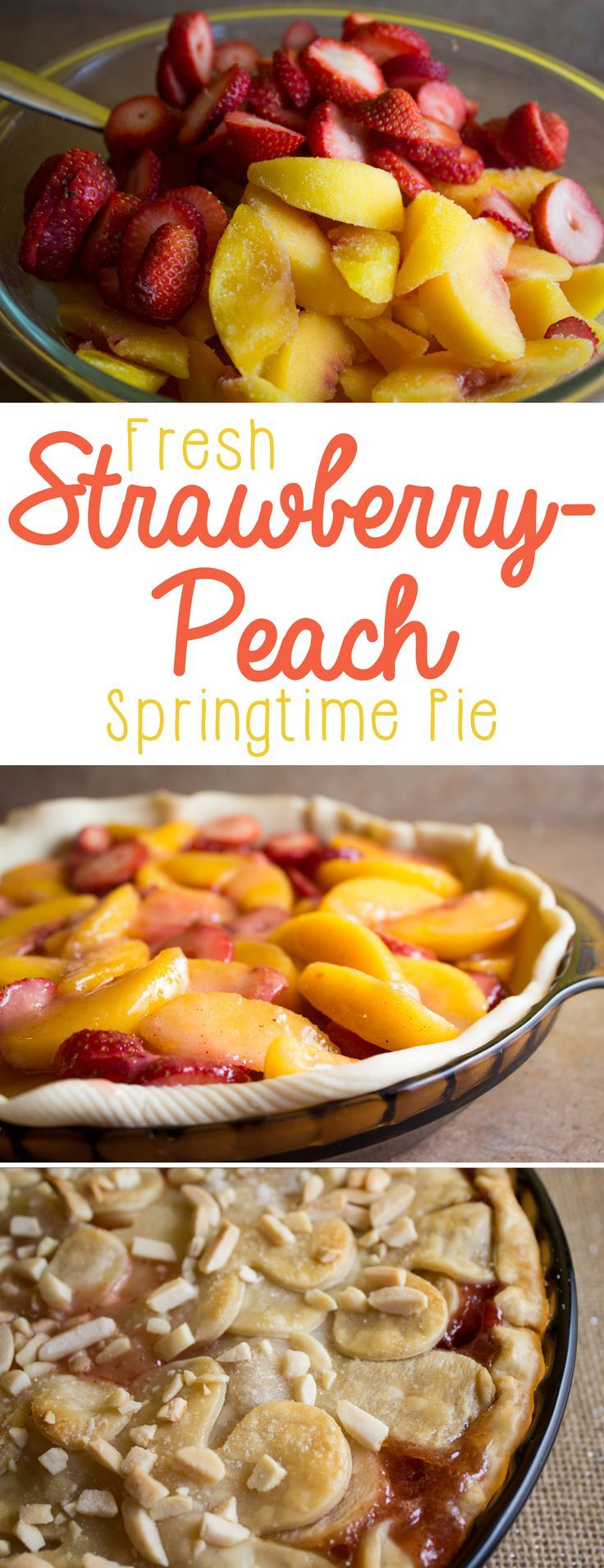 This strawberry peach pie is so heavenly... it's perfect for springtime! If you need a potluck dessert or the perfect spring pie, you'll love this-- fresh strawberries marry beautiful juicy peaches inside of a flaky crust, with just the right hint of sugar. You'll make this pie recipe again and again!